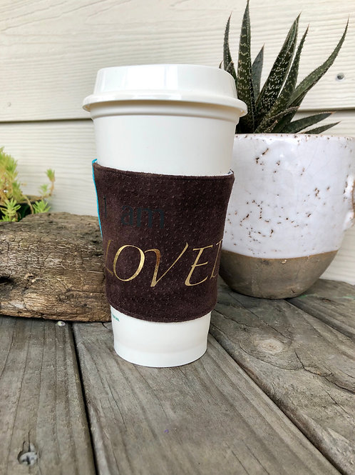 I am Loved Leather Coffee Cozy Reversible Handmade
