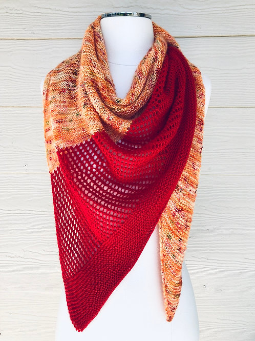 Fall Foliage Shawl Hand Knit Triangle Scarf