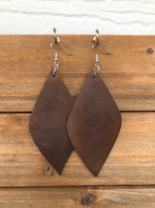 Bison Brown Diamond Leather Earrings