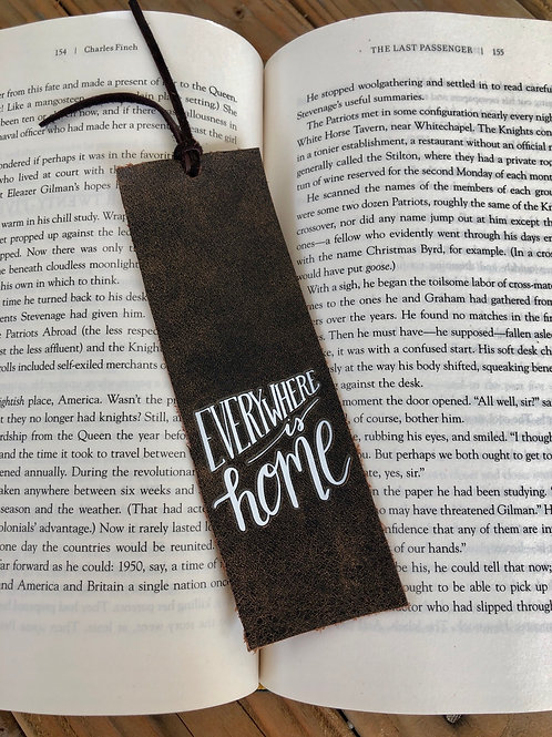 Everywhere is Home Leather Bookmark