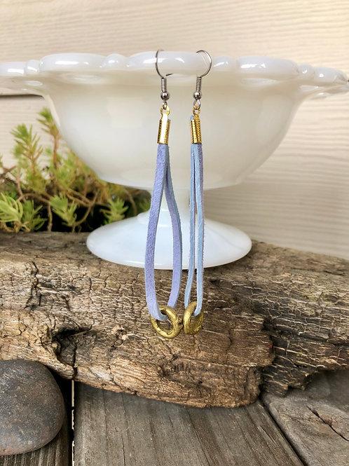 Periwinkle and Gold Hoop Suede Earrings