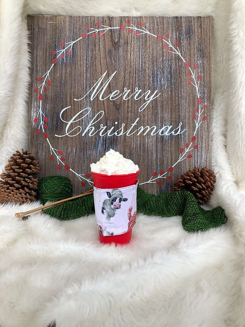 Warm Wishes Cow Cup Cozy Reversible