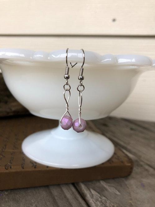 Lavender Sparkle Bead Handmade Earrings
