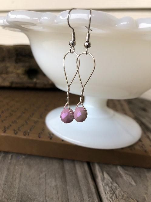 Lavender Sparkle Handmade Bead Earrings