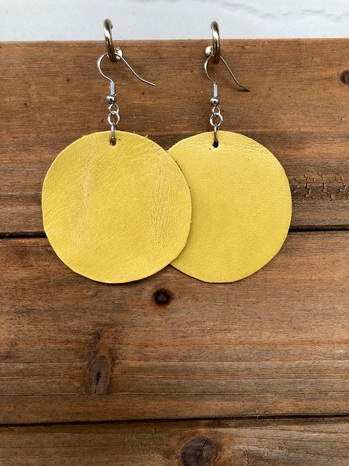 Yellow Circle Leather Earrings