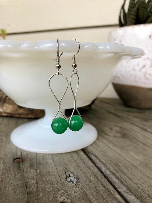 Jade Green Handmade Bead Earrings