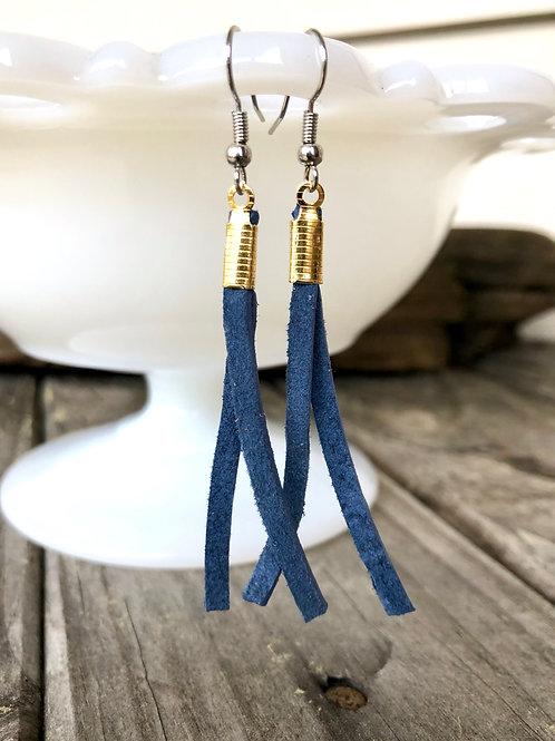 Blue Suede Earrings
