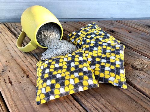 "Yellow Pocket Rice Bags - Hand Warmers, ""BooBoo"" Packs, Set of 3"