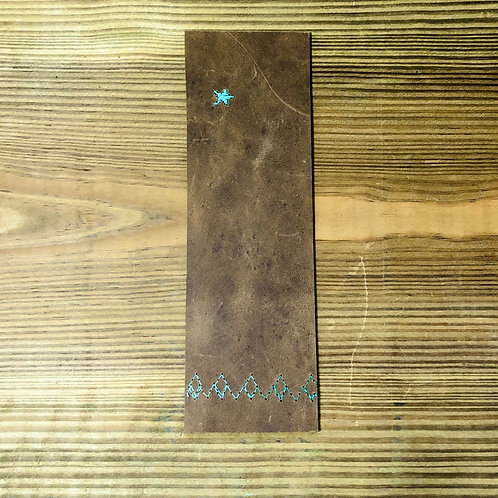 Leather Bookmark Star Moutain Stitched Design