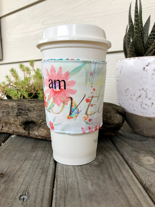 I am Loved Floral Coffee Cozy Reversible Handmade
