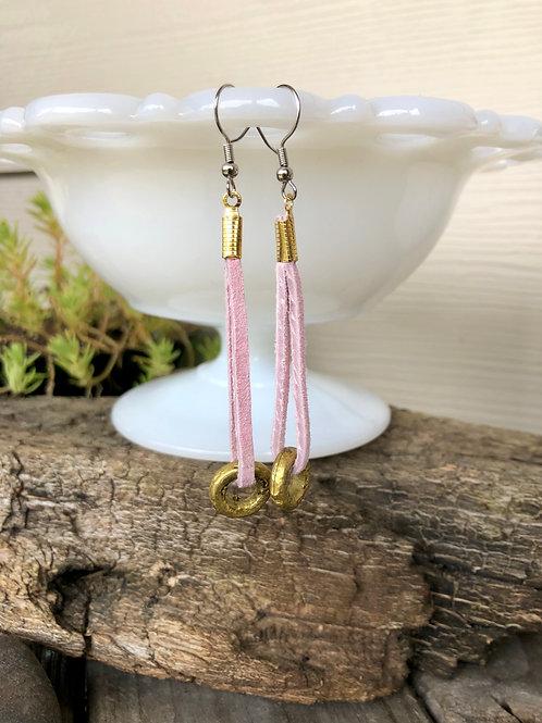 Pink Suede and Gold Hoop Earrings