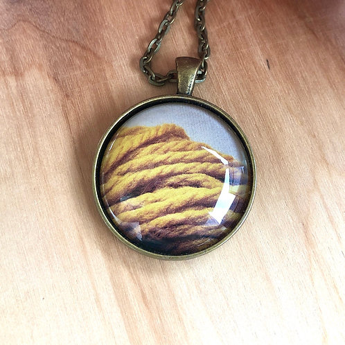 Yellow Yarn Knit Crochet - Bezel Necklace