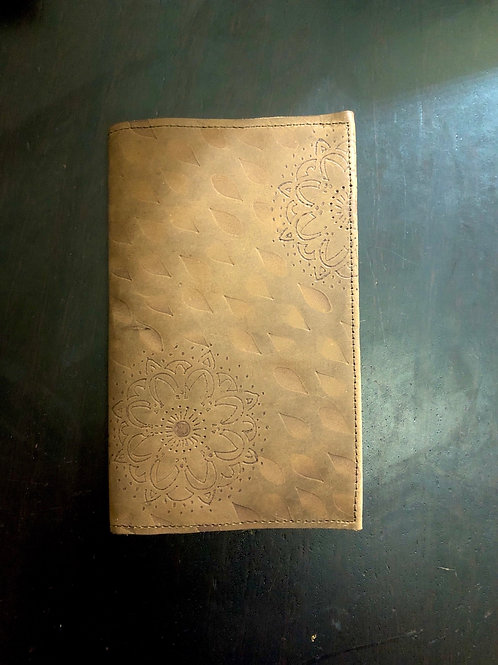 Hand Stenciled Little 3x5 Leather Notebook Cover
