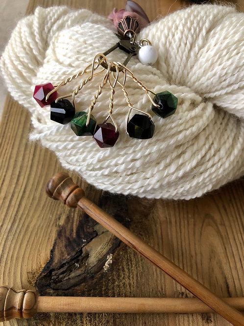 Maroon Black Green Knitting Stitch Markers Handmade