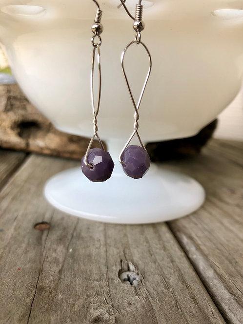 Purple Sparkle Handmade Bead Earrings