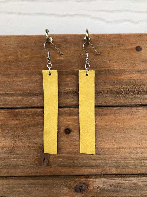 Choose Your Size - Yellow Bar Leather Earrings