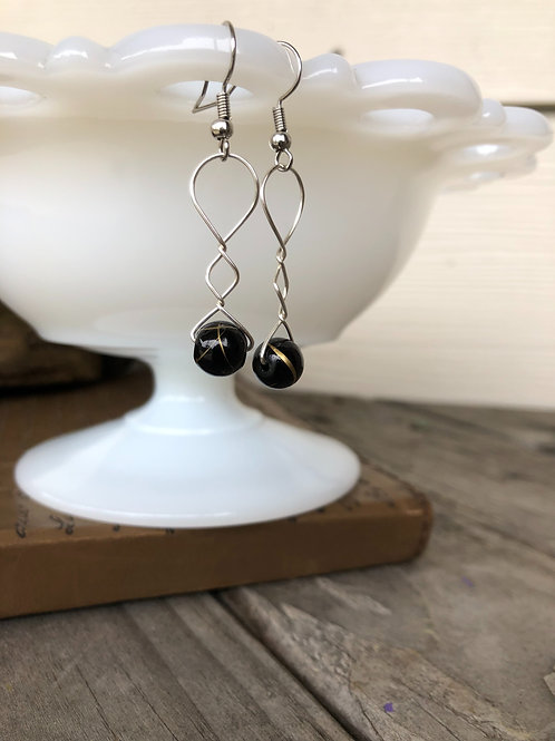 Black Gold Bead Earrings Handmade