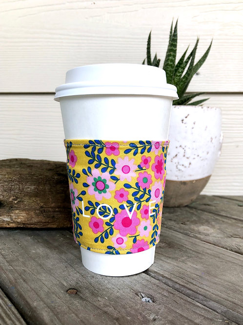 LOVE Yellow Floral Reversible Coffee Cozy