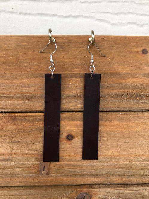 Choose Your Size - Dark Brown Bar Leather Earrings