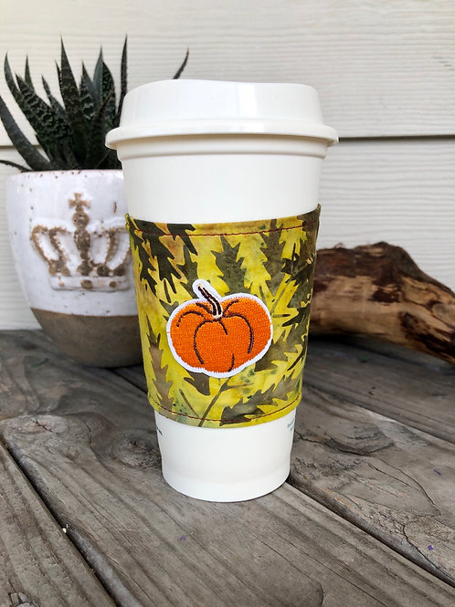 Pumpkin on Leaves Coffee Cup Cozy