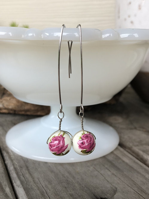 Spring Rose Earrings Silvertone Unique Gift