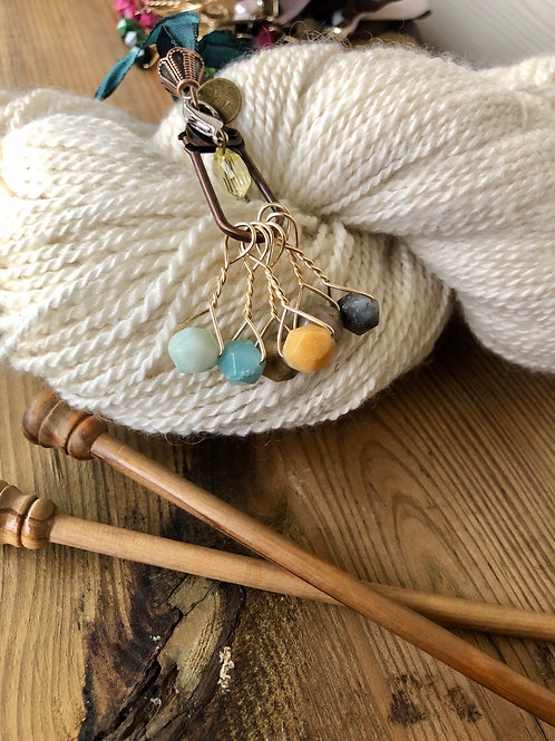 Multicolor Stone Knitting Stitch Markers Handmade