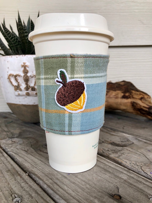 Acorn in Blue Flannel Coffee Cup Cozy