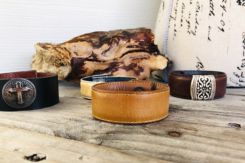 Chestnut Brown Leather Cuff Bracelet Shawl Cuff