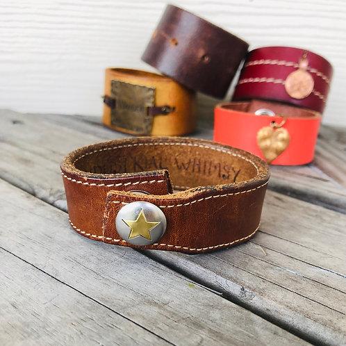 Star Snap Leather Bracelet or Shawl Cuff