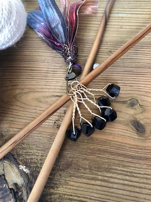 Black Knitting Stitch Markers Handmade