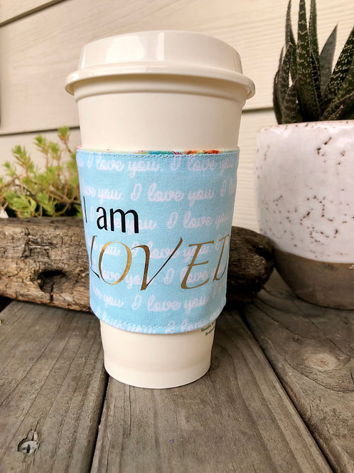 I am Loved Coffee Cozy Reversible I love you and Floral