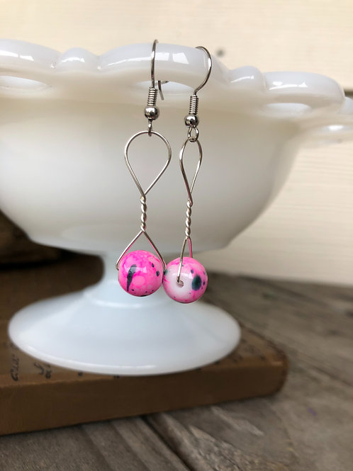 Pink Speckled Bead Handmade Earrings