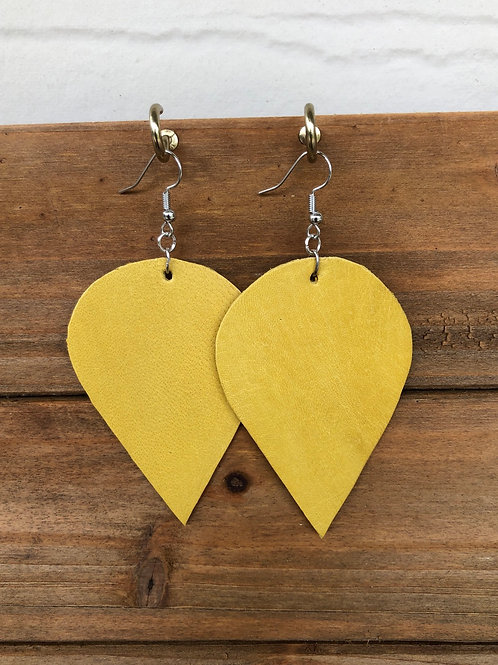 Yellow Inverted Teardrop Leather Earrings