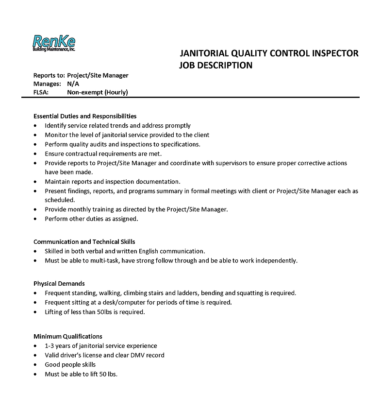 Janitorial Quality Control Inspector Job