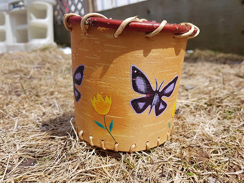 Painted Handmade Birchbark Basket - Purple Butterfly
