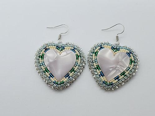 Beaded Heart Earrings  - Lisa Beardy