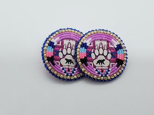 Beaded Bear Paw Earrings by Lisa