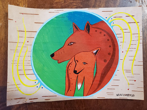 Fox & Pup - Original on Birch bark by Nigel Fisher