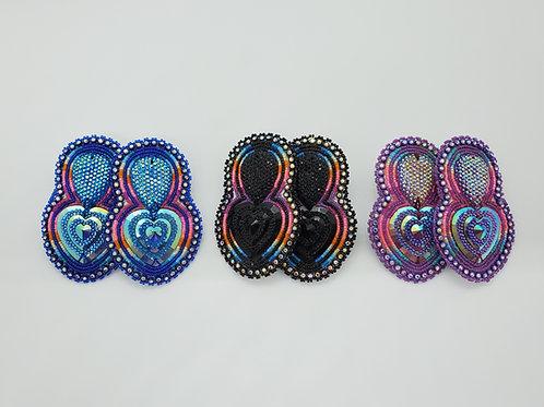 Beaded Earrings - Heart Drop