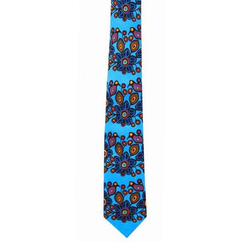 Norval Morrisseau Flowers and Birds Artist Design Silk Tie