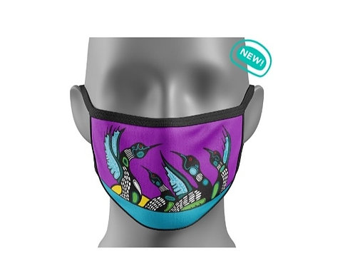 Reusable Cotton Face Mask - Loons Calling by Ojibway Artist  Mark A. Jacobson