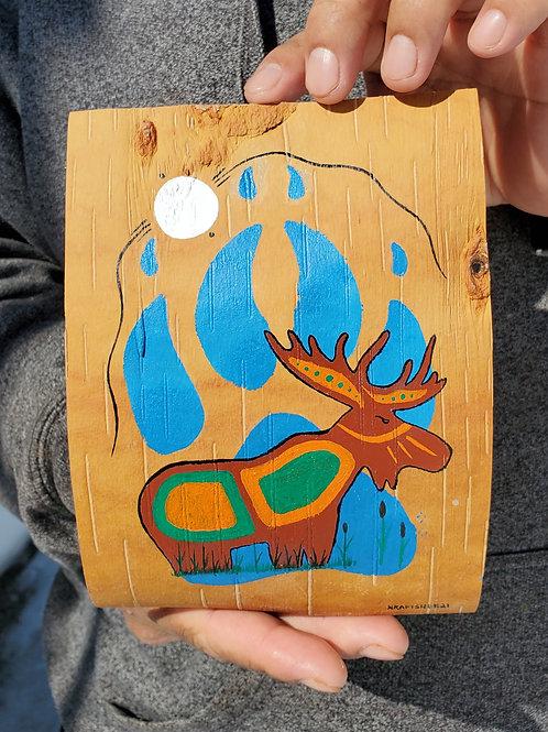 """Moon Light Hunt"" - Original Birch bark painting by Ojibwe Woodland Artist Nigel"