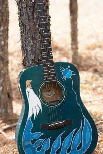 Gelineau Fisher Artwork, Ojibwe Woodlands Artist, Eagle Guitar, Native Artwork,