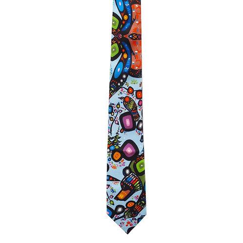 John Rombough Bear Artist Design Silk Tie
