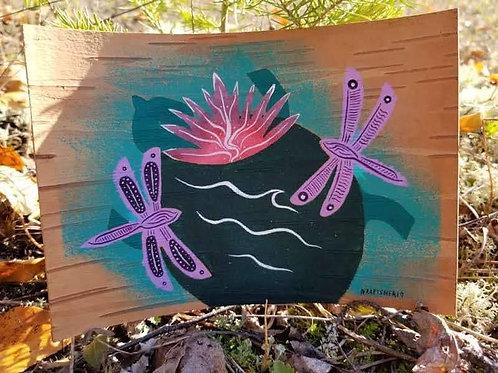 Turtle & Dragon Flies - Original