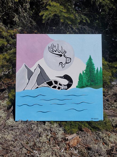 """Hunters Moon"" - Original Painting Ojibwe Woodland"
