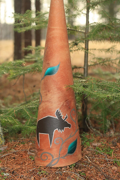 Birch Bark Moose Call, Moose Hunting, Moose Painting, Native Artwork, Gelineau Fisher, Native Art Gallery