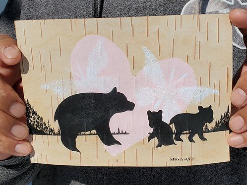 Ogiin Makwa - Original Birch bark painting - Ojibwe Woodland Artist Nigel Fishe