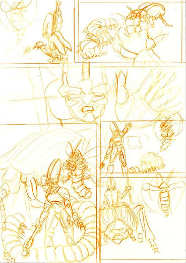 comic page rough pencils