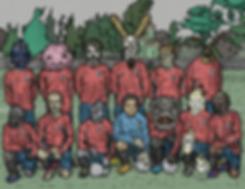 fantasy creatures football soccer illustration